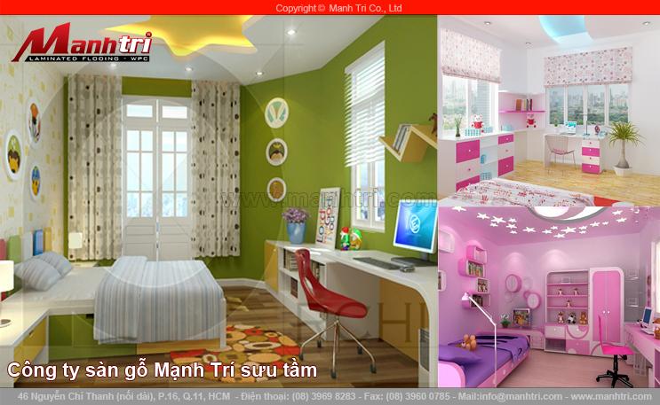Thiết kế phòng ngủ với sàn gỗ công nghiệp cho những cô chủ nhỏ