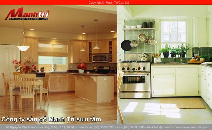 Thiết kế lại sàn gỗ công nghiệp phòng bếp chi phí thấp