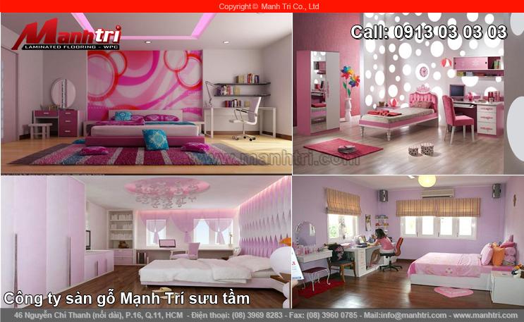 Ngọt ngào với sàn gỗ công nghiệp phòng ngủ gam màu hồng