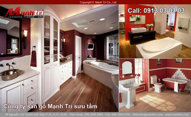 Thiết kế phòng tắm rộng với sàn gỗ công nghiệp
