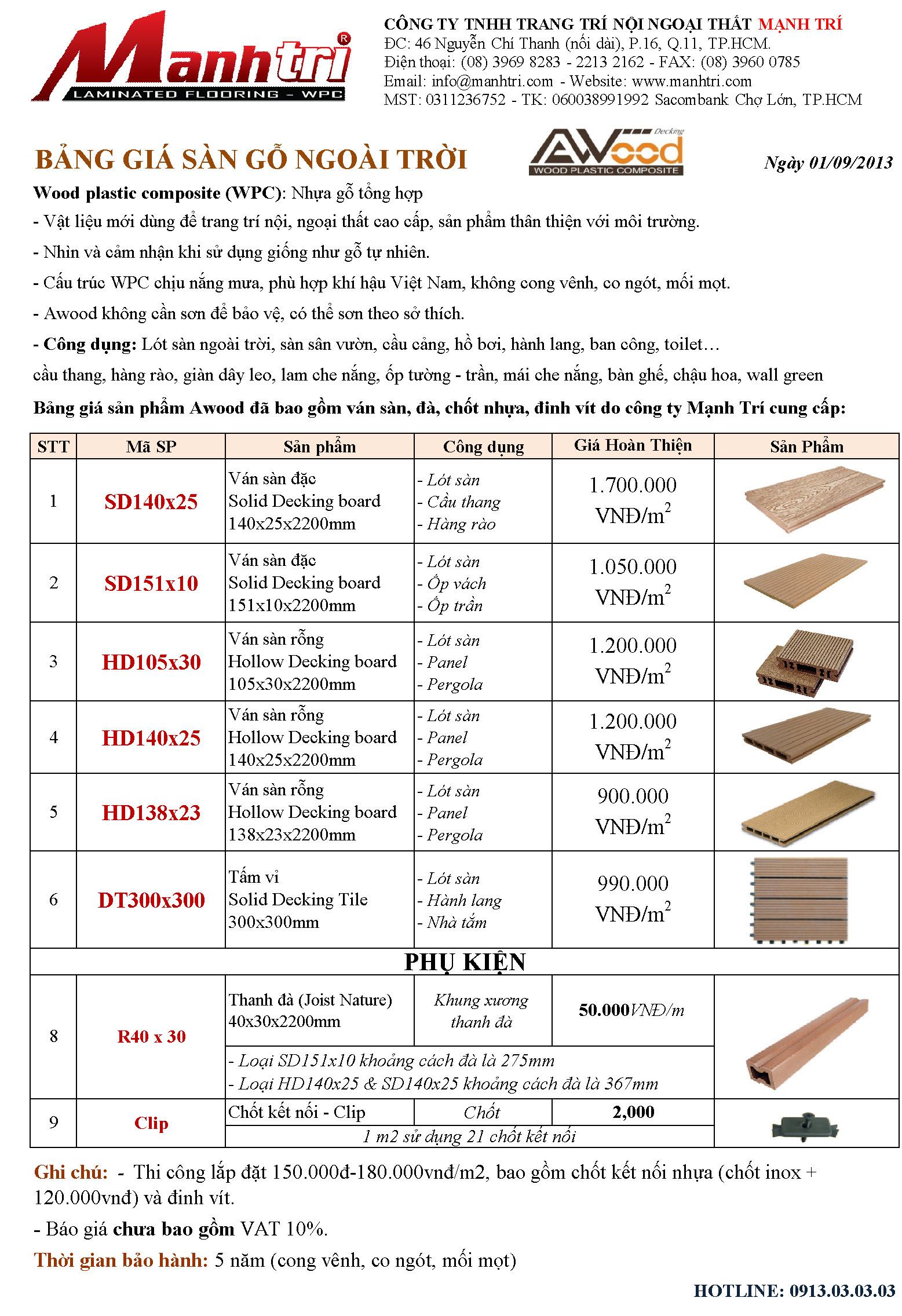 Bảng báo giá sàn gỗ ngoài trời Awood của tháng 09/2013