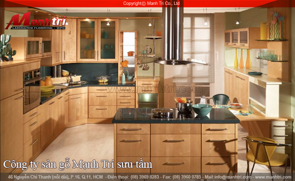 Thiết kế bếp, trái tim của gia đình với sàn gỗ công nghiệp