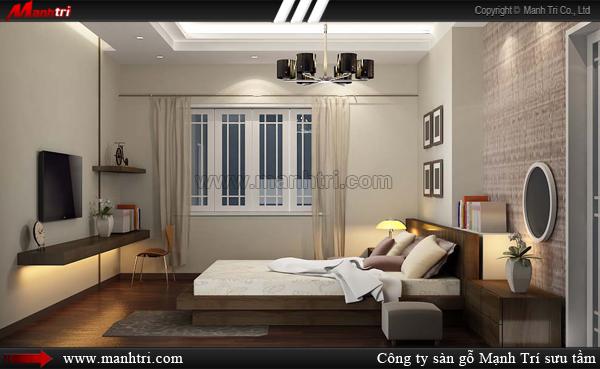 Thiết kế phòng ngủ chốn riêng tư cho các cặp vợ chồng với sàn gỗ công nghiệp