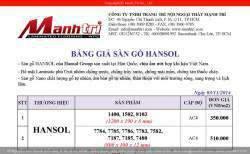 Bảng giá sàn gỗ công nghiệp Hansol