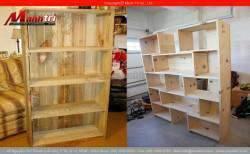 Tủ sách từ gỗ thông pallet