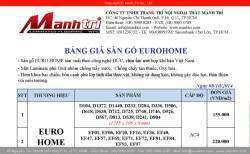Bảng giá sàn gỗ công nghiệp Euro Home
