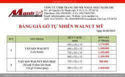 Bảng báo giá sàn gỗ tự nhiên Walnut Mỹ