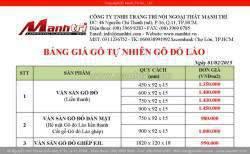 Bảng báo giá sàn gỗ tự nhiên Gỗ Đỏ Lào