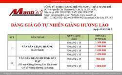 Bảng báo giá sàn gỗ tự nhiên Giáng Hương Lào