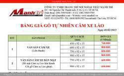 Bảng giá sàn gỗ tự nhiên Căm Xe Lào