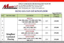 Giá sàn gỗ công nghiệp KingFloor