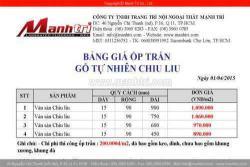 Bảng báo giá gỗ ốp trần Chiu Liu