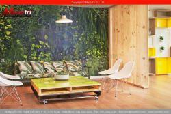 Sử dụng gỗ pallet làm bàn trong phòng khách