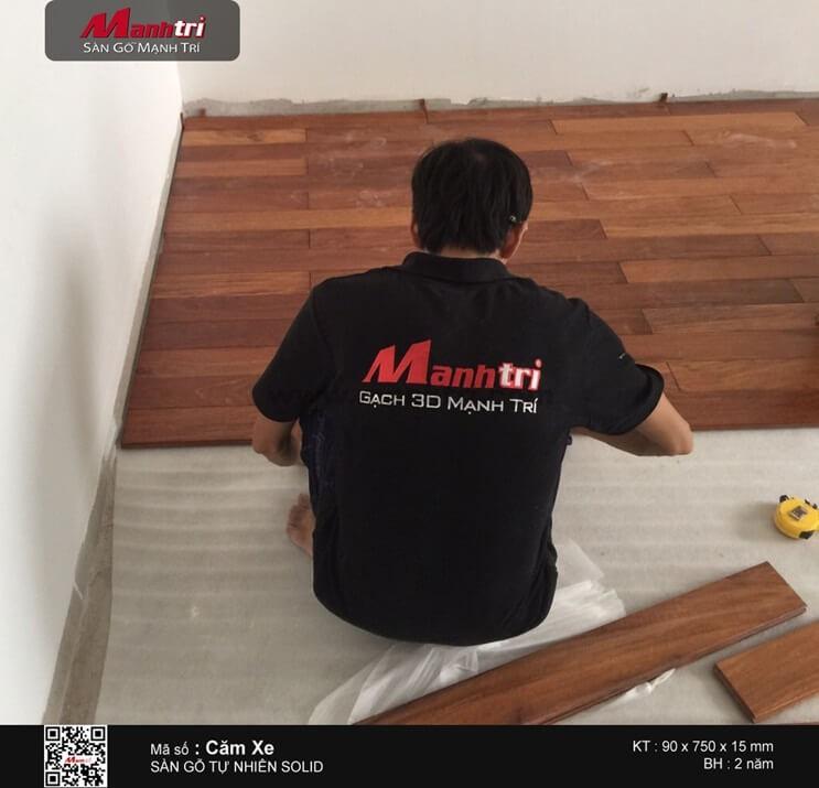 Thi công sàn gỗ tự nhiên Căm Xe tại H.Hóc Môn, TP.HCM
