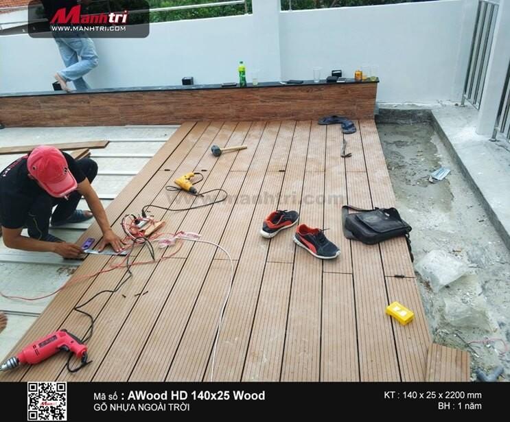 Thi công gỗ nhựa ngoài trời AWood HD140x25 tại Q.3, TP.HCM