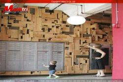 Gỗ công nghiệp và gỗ tự nhiên ốp tường trang trí