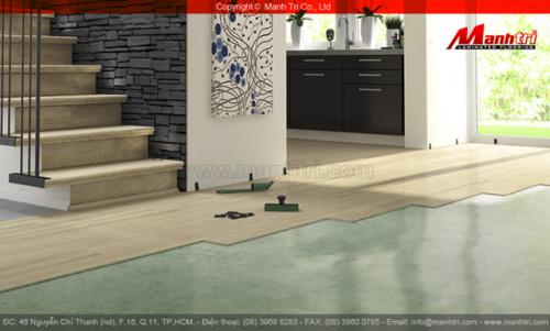 Kết hợp màu Cầu thang gỗ công nghiệp và sàn gỗ