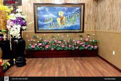 Không gian Phật Giáo tôn nghiêm với sàn gỗ Robina