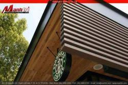 Lắp đặt gỗ nhựa ngoài trời composite Awood làm Vách che nắng