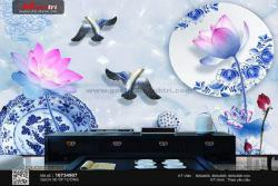 Ốp tường tinh tế với gạch 3D Hoa sen
