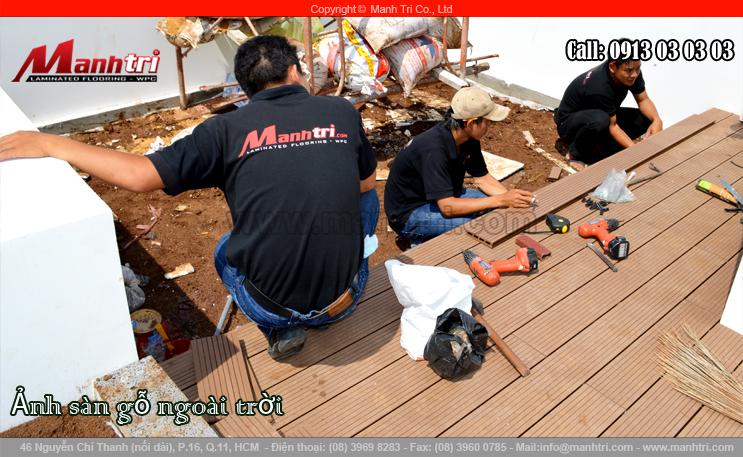 Thi công ván gỗ nhựa Awood HD140x25 tại biệt thự quận 7, TPHCM