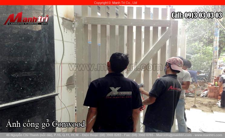 Thi công gỗ Conwood làm cổng ngôi biệt thự tại quận Tân Bình, TPHCM