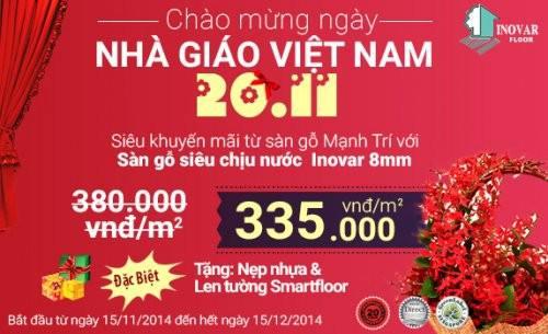 Mừng ngày nhà giáo Việt Nam 20 – 11 Cùng siêu khuyến mãi từ sàn gỗ Mạnh Trí với sàn gỗ công nghiệp Inovar
