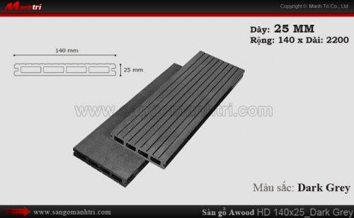 Sàn gỗ Awood HD140x25 Dark Grey