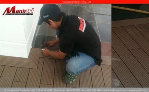 Lắp đặt sàn gỗ ngoài trời HD135x25 tại huyện Củ Chi