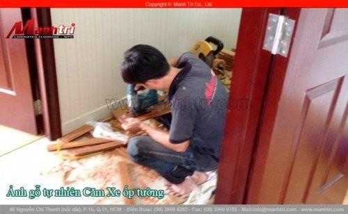 Gỗ tự nhiên Căm Xe ốp tường phòng ngủ tại biệt thự quận Phú Nhuận