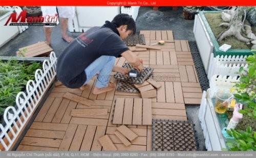Vỉ gỗ nhựa Awood lắp đặt sân thượng tại quận 4, TPHCM