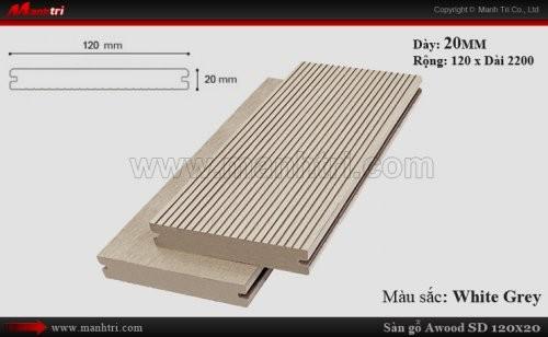 Sàn gỗ ngoài trời Awood SD120x20_White Grey