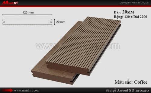 Sàn gỗ ngoài trời Awood SD120x20_Coffee