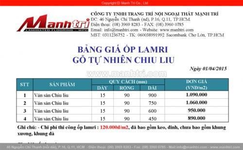 Bảng giá ốp lamri gỗ tự nhiên Chiu Liu