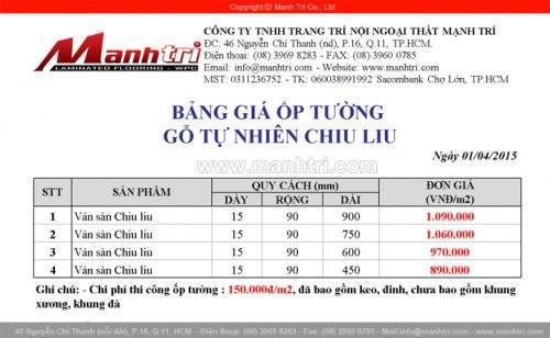 Bảng báo giá gỗ ốp tường Chiu Liu