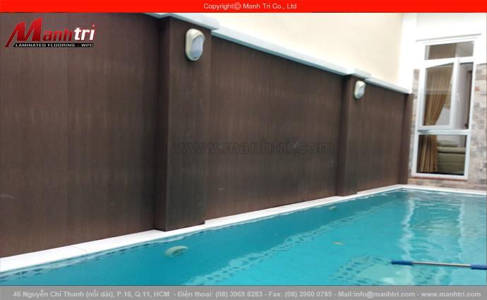 Gỗ nhựa Awood SD151x10 ốp tường, ốp cột và Awood HD135x25 lót sàn hồ bơi ngoài trời tại quận 7, TPHCM