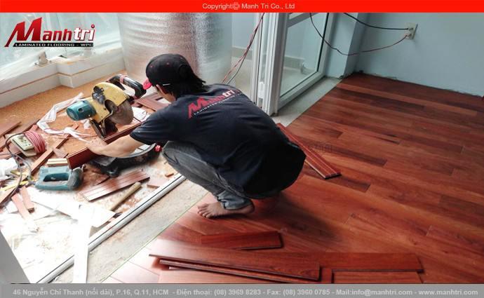 Sàn gỗ Giáng Hương lắp đặt tại chung cư quận Tân Bình, TPHCM