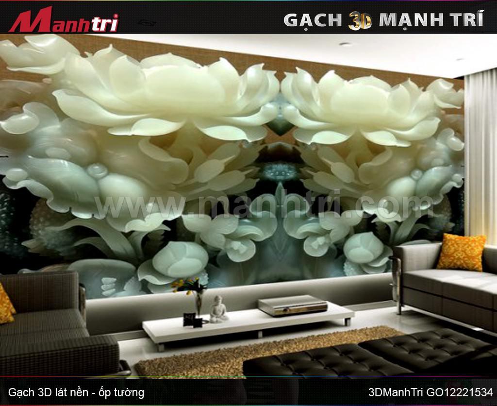 Gạch 3D Hoa Sen Men Sứ ốp tường nhà anh Minh Hóc Môn