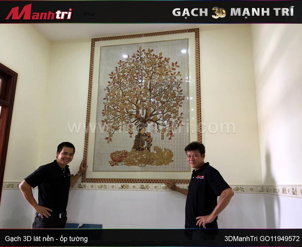 Gạch 3D mẫu Cây Kim Tiền ốp tường nhà anh Cảnh quận 2, HCM ( lần 1)