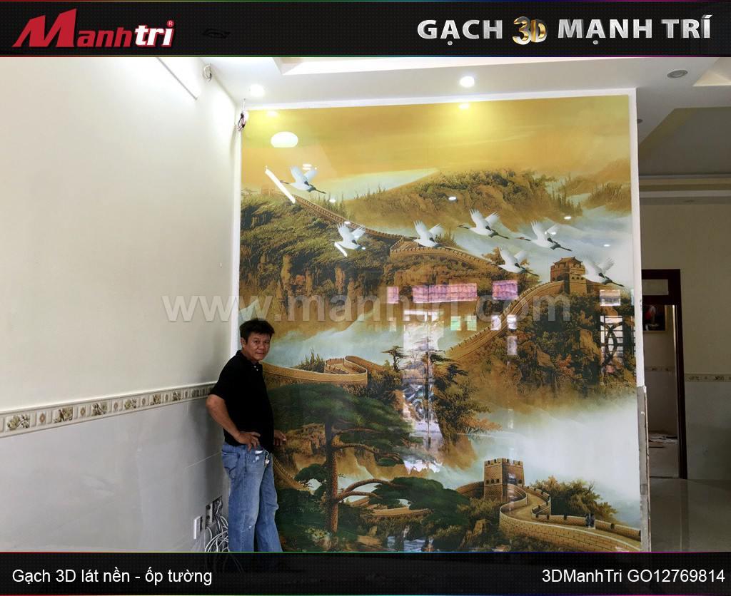 Gạch 3D mẫu GO12769814 ốp tường nhà Anh Cảnh quận 2, HCM ( lần 3)