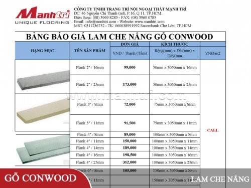 Báo giá lam che nắng gỗ Conwood