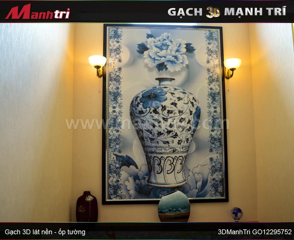 Gạch 3D kiểu bình hoa ốp tường nhà Chú Hùng Quận 7, HCM