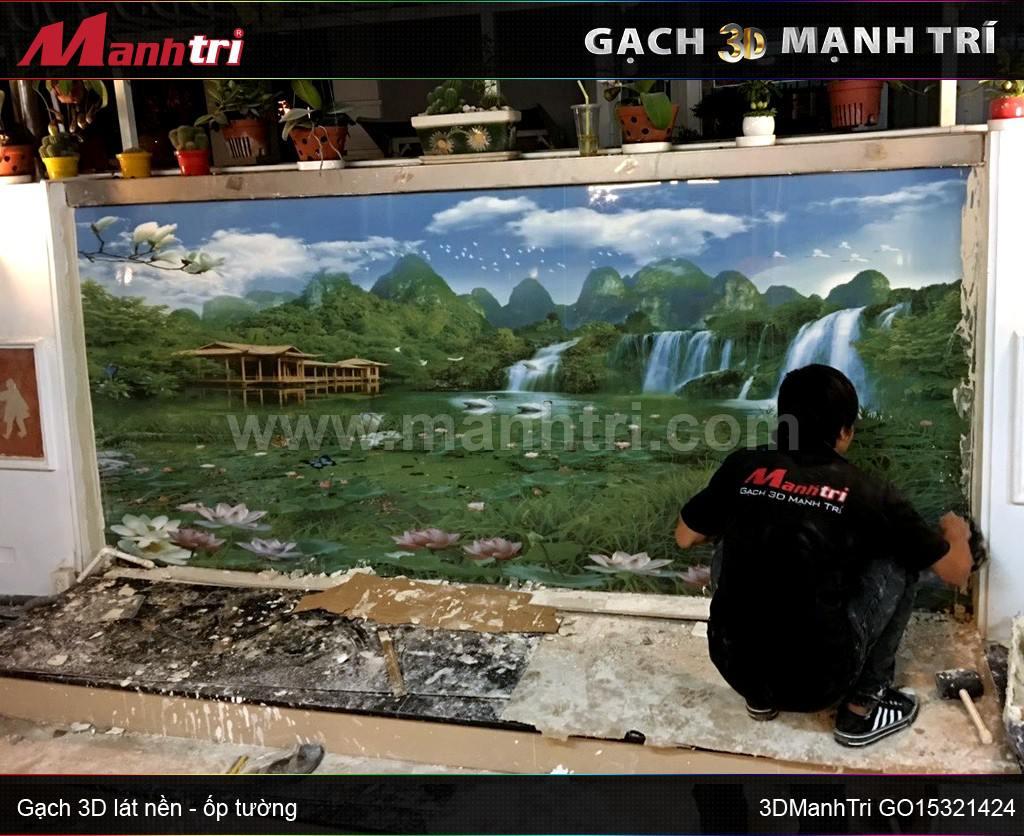 Gạch 3D Mạnh Trí ốp tường nhà Cô Hoa, quận 7, HCM
