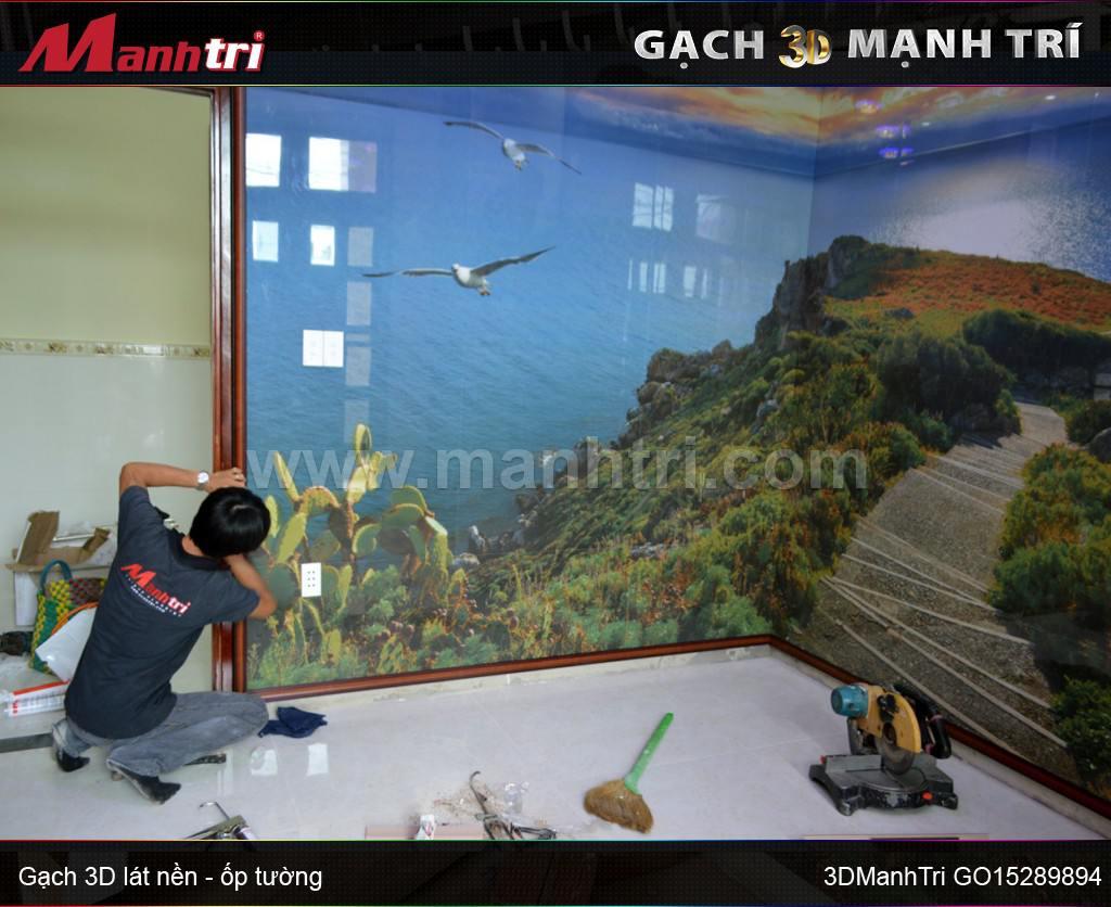 Gạch 3D ốp tường nhà anh Cường ở quận 2, HCM