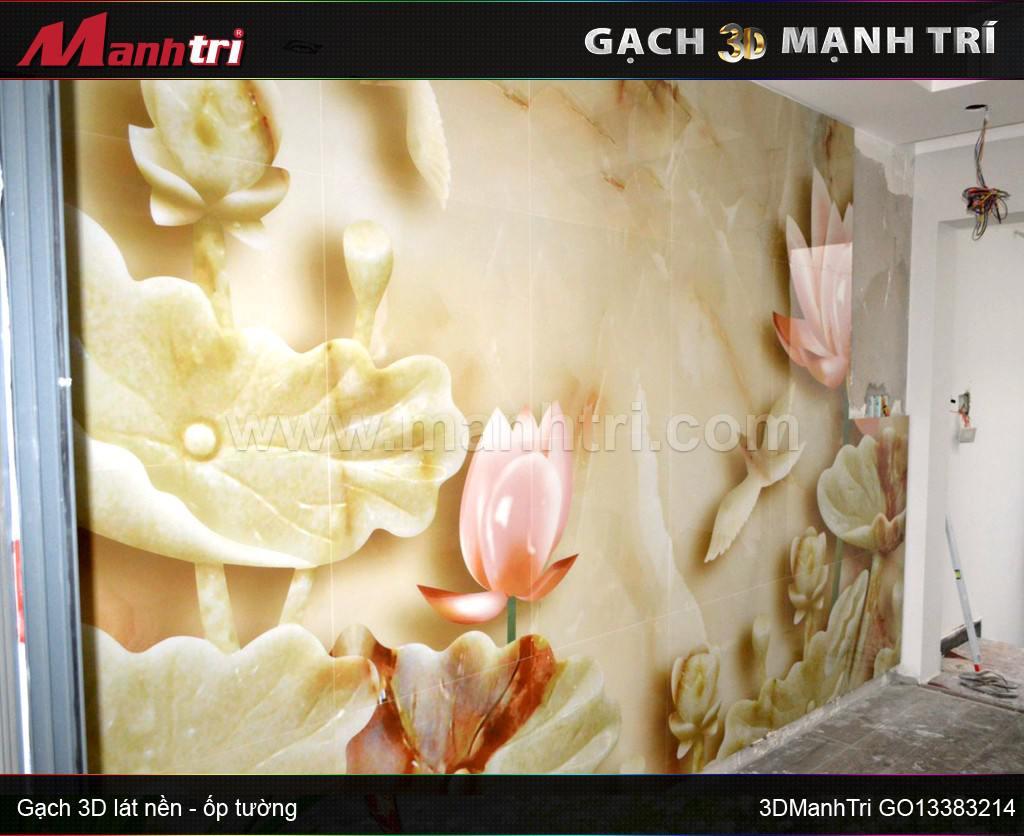 Thi công ốp tường gạch 3D GO13383214 tại nhà anh Hùng quận 10