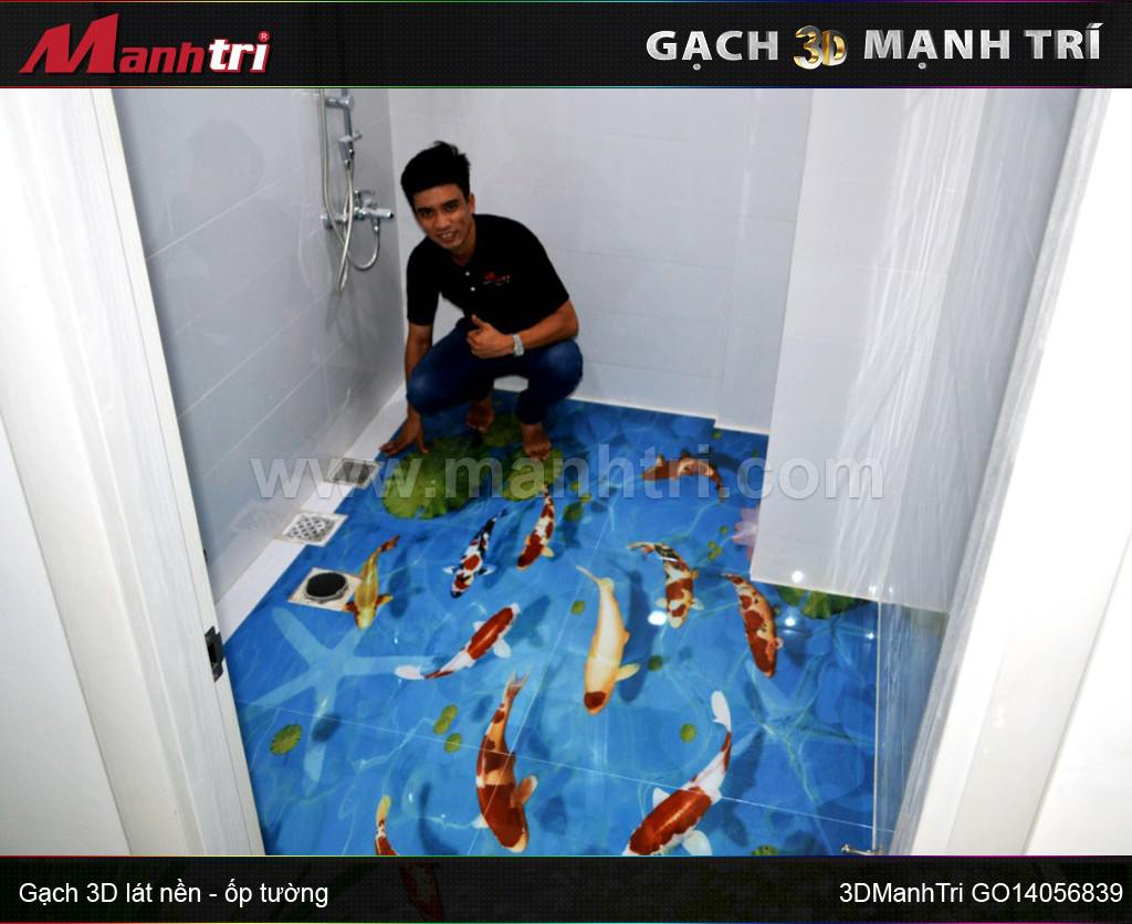 Gạch 3D Mạnh Trí GO14056839 lót nền toilet nhà Cô Đạo quận 7, HCM