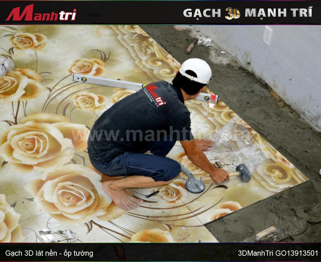 Thi công lót nền gạch 3D GO13913501 tại nhà Chị My Hóc Môn