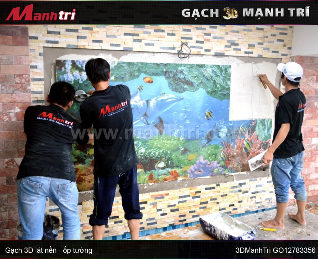 Mẫu gạch 3D GO12783356 ốp tường nhà anh Công quận 2, HCM