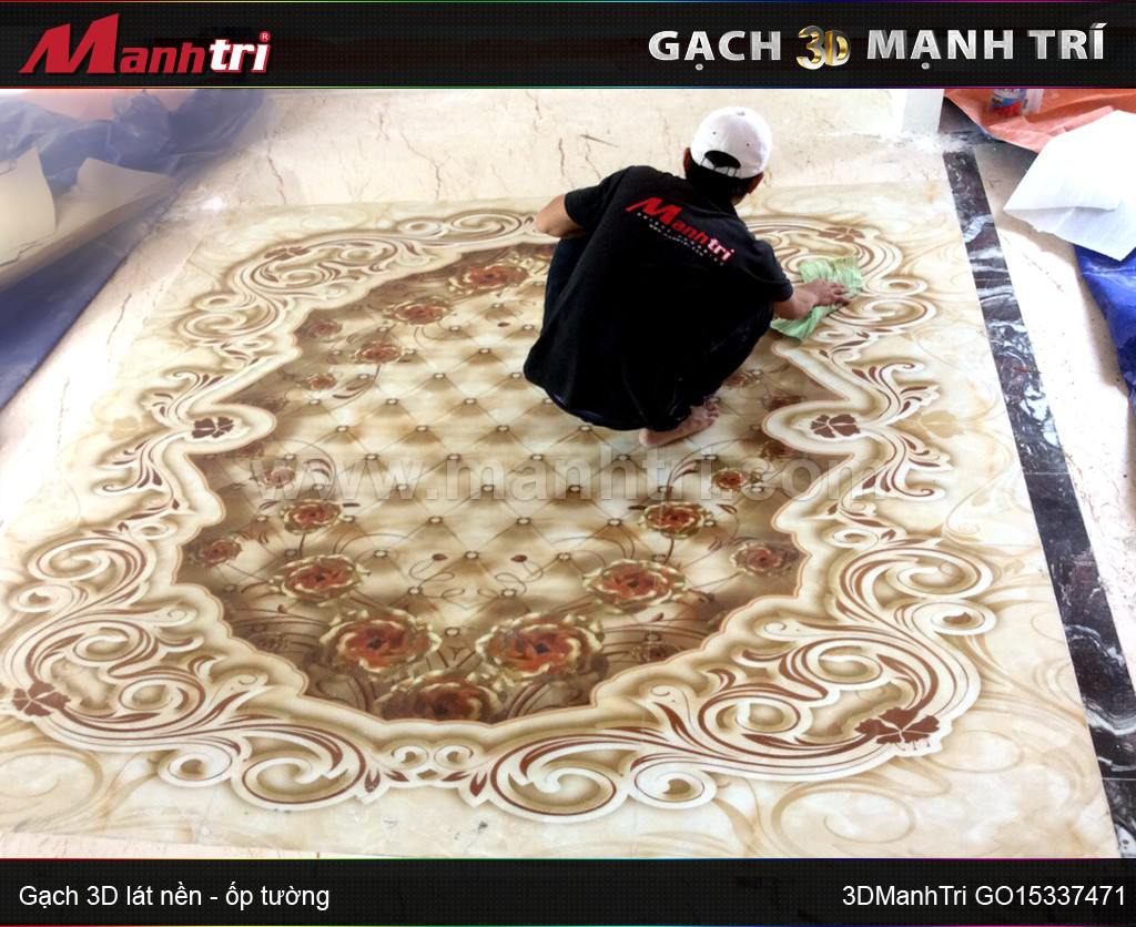 Mẫu gạch 3D GO15337471 lát nền nội thất nhà Chị Ngọc, quận 7, HCM