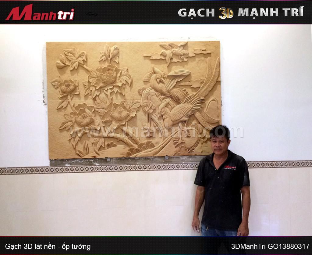 Gạch 3D Mạnh Trí GO13880317 ốp tường nội thất nhà Anh Phong ở Đồng Nai